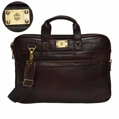 Wine Brown Sleek Christopolo Men's Laptop Bag - Customizable with Logo