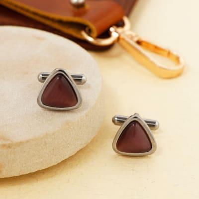 Wine Stone Triangle Men's Cufflinks