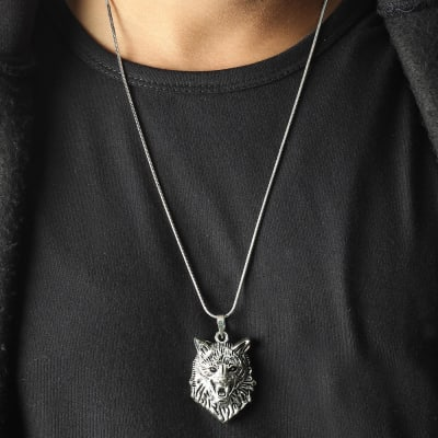 Wolf Engraved Oxidised Silver Finish Men's Pendant