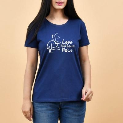 Women's Dog Lover Blue Cotton T-Shirt