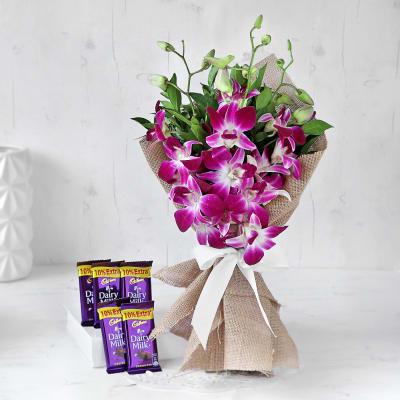 Wonderful Orchids Bouquet with Cadbury Dairy Milk Bars (5 pcs)