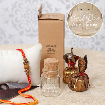 Wooden Beaded Rakhi with Message in Bottle Pen Drive & Chocolates