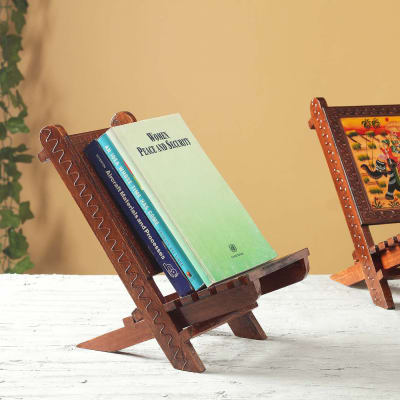 Wooden Book Holder with Rajasthani Painting