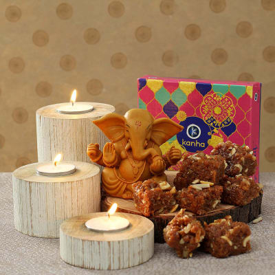 Wooden Candle Diya Set with Doda Barfi & Ganesh Idol