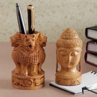 Wooden Carved Ashoka Stambh Pen Stand With Buddha Showpiece