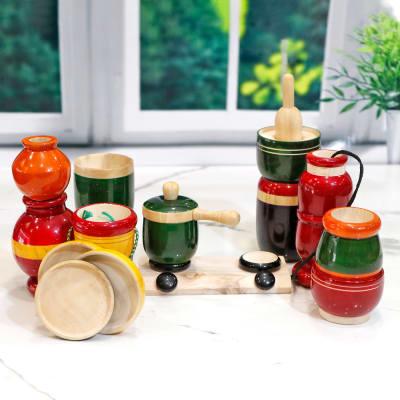 Wooden Colourful Mini Kitchen Set
