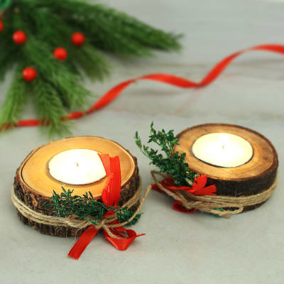 Wooden Decorative Block Candles- Set of 2