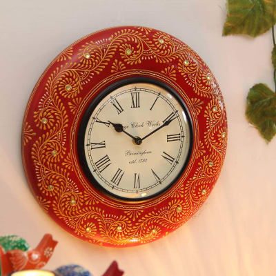 Wooden Embossed Painted  Ethnic Design Wall Clock