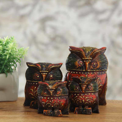 Wooden Embossed Set Of 4 Owl