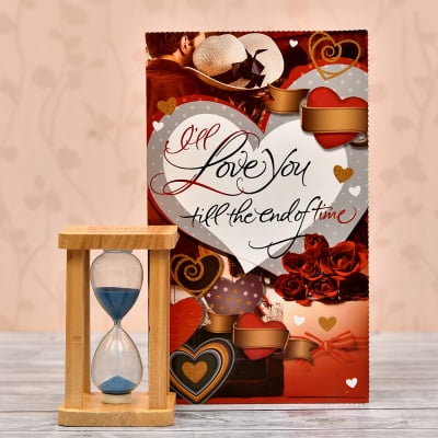 Wooden Glass Sand Timer With Love You Greeting Card
