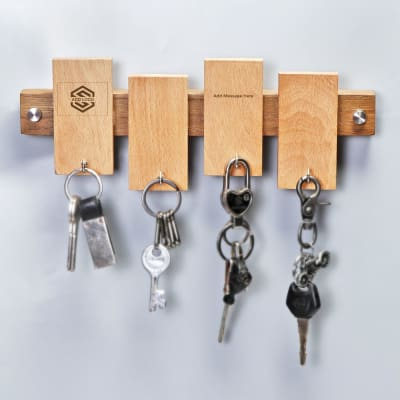 Wooden Key Holder - Customized with Logo & Message