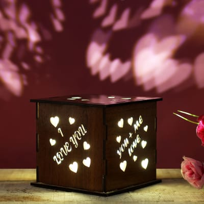 Wooden Lamp with Love Quotes