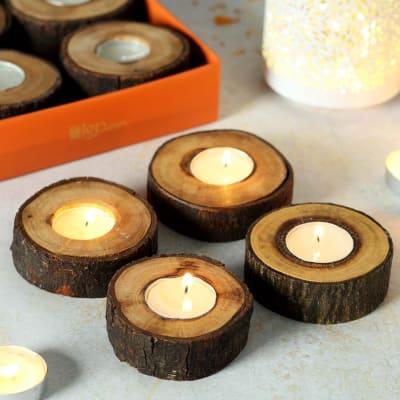 Wooden Log Candle Diya Set