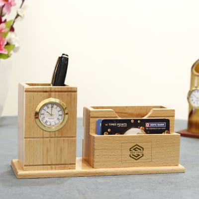 Wooden Pen Holder with Clock - Customized with Logo