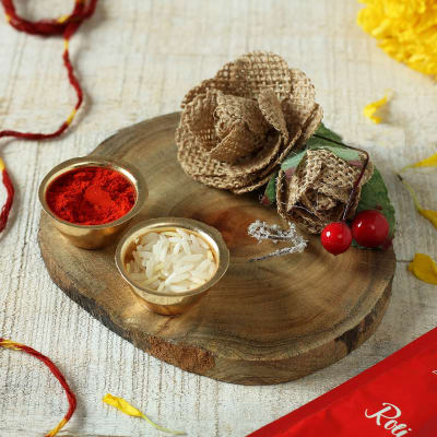 Wooden Puja Thali with Roli and Moli
