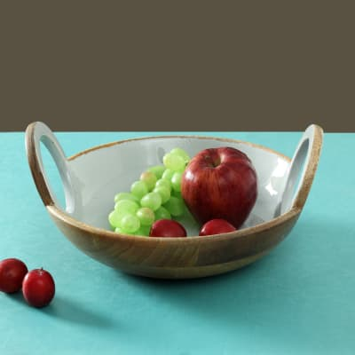 Wooden Serving Bowl with Enamel Paint