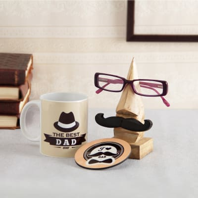 Wooden Spectacles Holder With Mug Coaster For Father