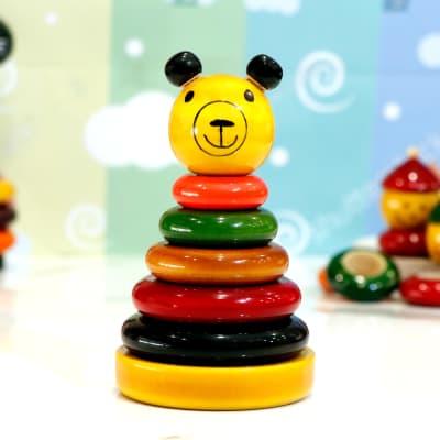Wooden Teddy Bear Stacker Ring Set