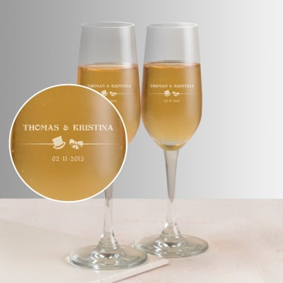 Years of Togetherness Personalized Set of Two Champagne Glasses