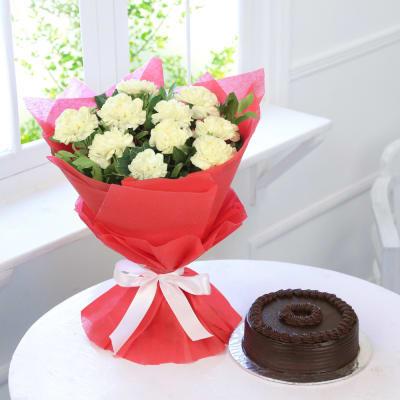 Yellow Carnations with Truffle Chocolate Cake (Half Kg)