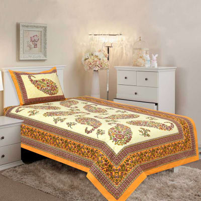 Yellow Color Single Bed Sheet With Pillow Cover