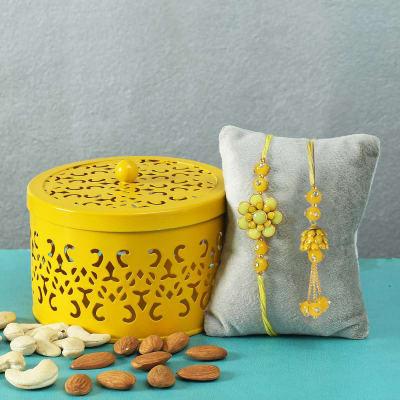 Yellow Pachhi Work Bhaiya-Bhabhi Rakhi with Dryfruits Box
