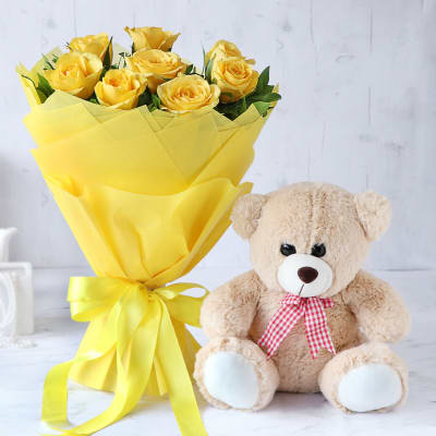 Yellow Rose Bouquet with Pink Teddy