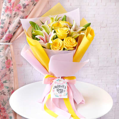 Yellow Rose & Lily Bouquet for Mom