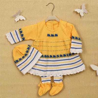 9683b5c67e2 Yellow   White Woolen Frock With Socks   Cap for Baby Girl