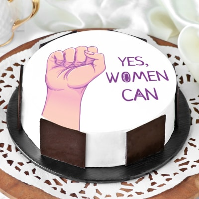 Yes Women Can Photo Cake (Eggless) (Half Kg)