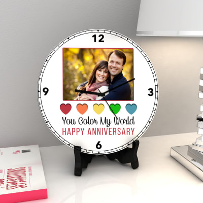 You Color my World Personalized Anniversary Clock