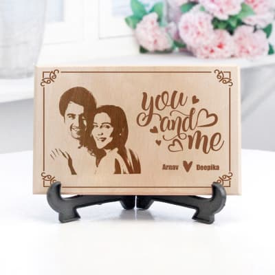 You & Me Personalized Photo Frame in wood