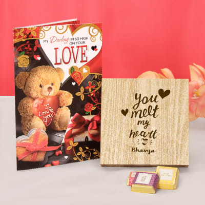 You Melt My Heart Personalized Chocolates with Greeting Card