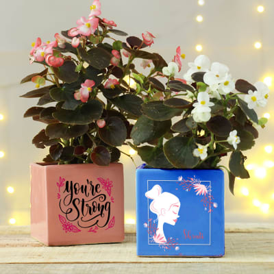 You're Strong Personalized Planter - set of 2