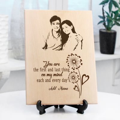 Young Love Personalized Wooden Photo Frame