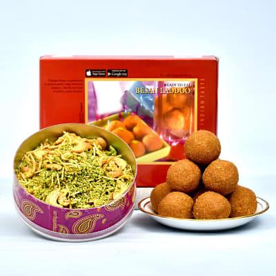 Yummy Besan Laddoo Pack with Kaju Pudina Namkeen in CD Box