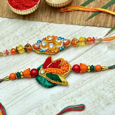 Zardozi and Beads Work Rakhi Set
