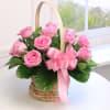 10 Pink Roses in Basket