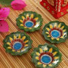 4 Flower Shape Blue Pottery Diyas