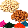 4 Shades of Holi Gulal with Dry Fruit Hamper