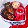 Aromatic Candles & Goodies in Heart Box Hamper
