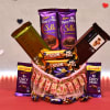 Assorted Cadbury Chocolate Hamper in Heart Shape Decorated Basket