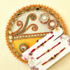 Attractive Set of Three Rudraksha & Beaded Rakhi with Elegant Puja Thali