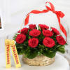 Basket of 10 Red Roses with 2 Bars of Toblerone