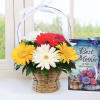 Basket of 6 Assorted Gerberas with Card