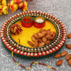 Beautiful Puja Thali with 100 Gms Almonds & Moli