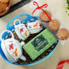 Beautiful Set of Two Cup with Kettle, Tulsi Green 25 Tea Bags & Cookies in Basket