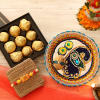 Beautiful Swastik Rakhi with Chocolates and Puja Thali