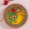 Beautiful Tikka thali with Swastik Bead Rakhi