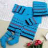 Blue Woolen Baby Sweater With Socks & Cap
